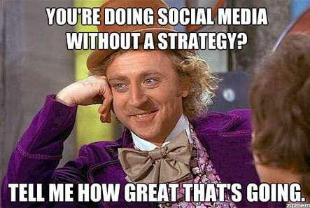 Willy Wonka Social Media meme, You're doing social media without a strategy, Tell me how great that's going