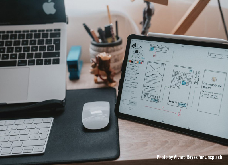 3 reasons why websites matter, An image of a desktop computer and a user interface sketch, Bounce Ahead, 3