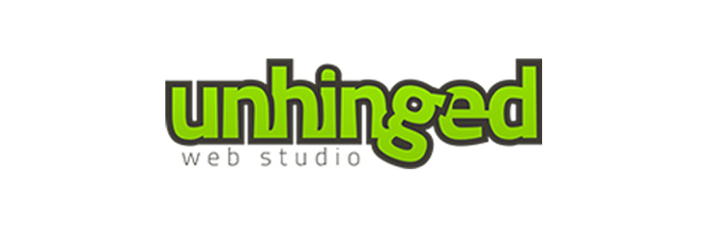 Logo for Unhinged web studio, Bounce Marketing & Consulting, Small Business Solutions